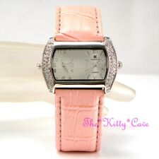 Silver & PInk Ladies Dual Dial Twin Time Multi Zone Watch w/ Swarovski Crystals