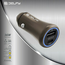 Delfy Tropo Fast Car charger UCB-C PD & QC USB-A 36 W / 3.0 Amh iPhone / iPad