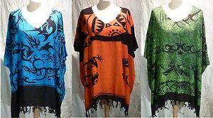 poncho tunic top caftan boho Celtic tribal blouse 16 18 20 22 24 26 beach cover