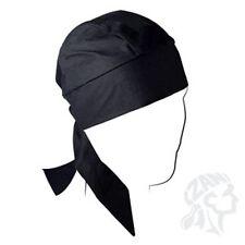Large Black Super Deluxe Head Wrap Sweatband Durag Biker Skull Cap Helmet Liner