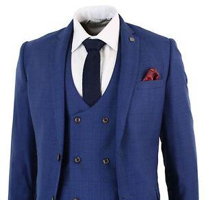 Mens Blue Check Retro Vintage Double Breasted Waistcoat 3 Piece Suit Slim Fit