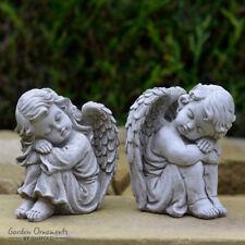 RESTING ANGELS PAIR Stone Garden Ornament Cherub Angel Statue sm ⧫onefold-uk