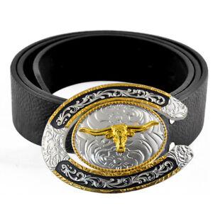 Cool Men Leather Belts Oval Cowboy Rodeo Longhorn Gold Large Western Belt Buckle