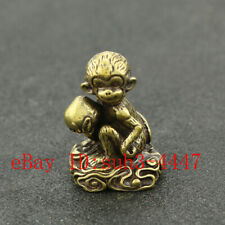 Chinese Handmade Copper  Brass Monkey Small Fengshui Statue Ornament