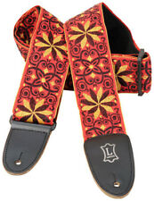 """Levy's M8HT-21 2"""" Hootenanny Jacquard Weave Guitar Strap - Red/Yellow Flowers"""
