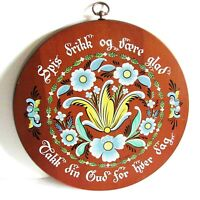 "1960s Scandinavian Wood Plaque Tray Berggren Trayner Rosemal 14"" FREE SH"