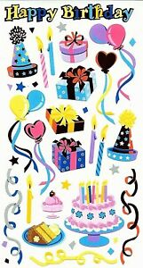 BIRTHDAY PARTY Sticko Foil Stickers - Hats Candles Balloons Cakes