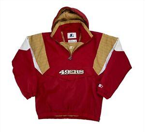 Vintage 90's San Francisco 49ers Light Fill 1/4 Zip Hooded Starter Jacket - M