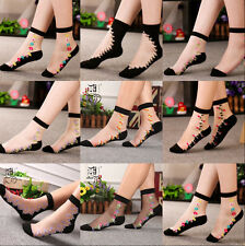 Comfy Crystal Sheer Transparent Thin Black Floral Lace Ruffle Ankle Socks Lady