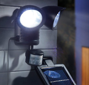 Solar LED Wall Light Motion Sensor Remote Control Outdoor Twin Head Street Lamp
