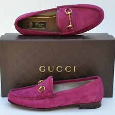 GUCCI New sz 35.5 - 5.5 Auth Designer Womens Horsebit Pink Flats Loafers Shoes