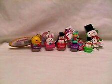 LIP SMACKER Lot 5 PVC Figure KEY CHAINS Snowman NUTCRACKER bunny CHICK new balm