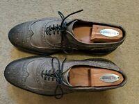 Allen Edmonds McTavish Gray Wax Leather Wingtip Brogue Loafer Dress Shoes - 10D