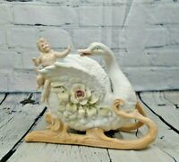 Vintage Bisque Porcelain Swan Sleigh with Cherub Angel Decorative Floral Planter