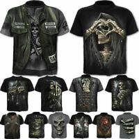 Men Punk Skull Animal 3D Print Funny T-Shirt Short Sleeve Casual Tee Streetwear