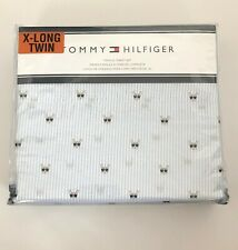 TOMMY HILFIGER Blue White Striped Sheet Set With French Bulldog & Sunglasses