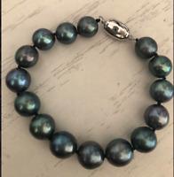 "stunning 11-12mm tahitian round black green pearl bracelet 7.5-8"""