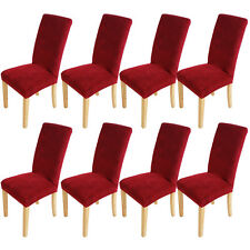 1/4/6/8pc High Quality Stretch Dining Room Chair Cover Slipcover Wine Removable 8 Pcs