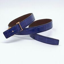 Handmade 24mm Genuine Blue Crocodile Skin belt strap Size 75 Free Shipping