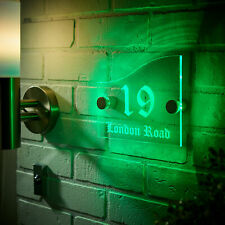 Illuminated House Signs, Modern Personalized Green LED Light Acrylic Plaque