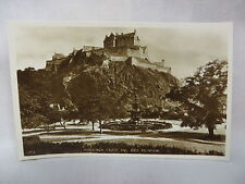 Vintage Real Photo Postcard Edinburgh Castle And Ross Fountain Scotland Unused