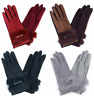 Women's Faux Suede Touch Screen Warm Winter Real Rabbit Fur Trim with Bow Gloves