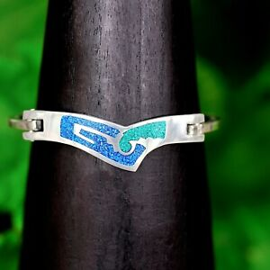 Artisan Silver Turquoise and Malachite Geometric Cuff Bracelet from Taxco Mexico