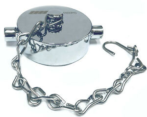 """1-1/2"""" NST NH Fire Hose Hydrant Cap Polished Chrome on Brass & Stainless Chain"""
