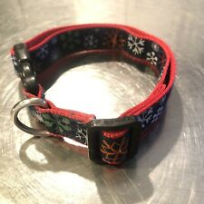 Dog Collar Old Navy Dog Co Adj Sz S - L Snowflakes Navy Blue Red White Unisex