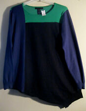 Ashley Stewart XL 22 24 Sweater New With Tag Aqua Blue Black  ASYMMETRICAL CUT