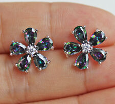 18K White Gold Filled - Clover Flower MYSTICAL Rainbow Topaz Gems Lady Earrings
