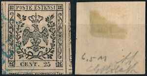 ITALY - DUCHY OF MODENA 1852, 25c VALUE, SCARCE USED STAMP. #Z884