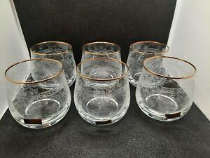 VINTAGE BOHEMIA GLASS - Immaculate Set 6x Vintage Whisky Spirit Tumbler Glasses