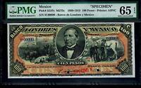 "Mexico RARE $100 Pesos""SPECIMEN""Banco de Londres Y Mexico 1889-1913 PMG 65"