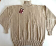 "William Lockie roll neck chunky knit 4 ply cashmere sweater jumper top 48"" Beige"