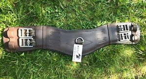 FULL PADDED LEATHER DRESSAGE/EVENT SHORT GIRTH ANATOMICAL SHAPED BROWN & BLACK