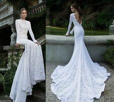 Open Back White Lace Long Sleeve Wedding Dress Custom Mermaid Bridal Gowns 2 4 6