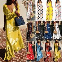 Plus Size Women Boho Floral Sleeveless Split Summer Beach Party Long Maxi Dress