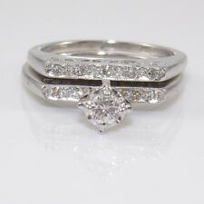 Vtg 18K White Gold 0.20ctw Diamond Wedding Engagement Band Ring Set Sz 5 LQ3-G
