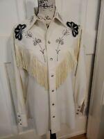 Vintage H BAR C Ranchwear Rodeo White Western Shirt Fringe Pearl Snap Size 15.5