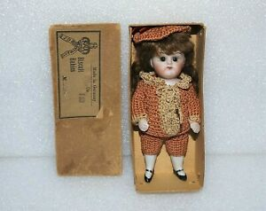 "ANTIQUE ALL BISQUE KESTNER Glass Sleep Eyes Jointed 5"" GERMANY MIGNONETTE DOLL"