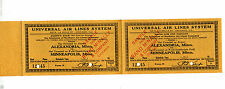 Vintage Sample Airline Ticket UNIVERSAL AIR LINES SYSTEM Alexandria MN Minneapol