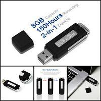 USB Mini Voice Recorder Digital Spy Record 8GB Small Drive Audio Recording 150Hr