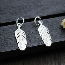 2PCS Pure S925 Sterling Silver Pendant / Unique Design Lucky Feather Pendant 1g