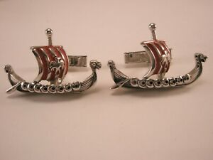 -Viking Ships Red Sails Vintage SWANK Cuff Links ragnar lagertha kattagat