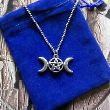 Blessed Be Moon & Star Pendant Necklace, Witch Wicca Pagan Goddess Pentagram