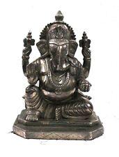 Lord Ganesha Statue Silver Claided Wooden Figurine Sculpture Handmade Original