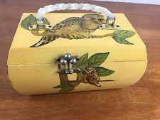 Vintage Wood Owl Handbag Lucite Handles Purse Vicki Jean