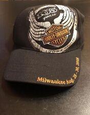 Harley Davidson 105th Anniversary Black 2008 Hat Cap Stretch FlexFit-NWOT