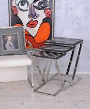 Beistelltisch Dreisatztisch Art Deco Couchtisch Tischset Edelstahl Tisch 3 Stück